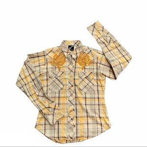 WESTERN DENIM BANK full snap embroider rodeo shirt